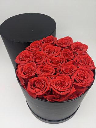 Hat Box of 16 Preserved Forever Rose