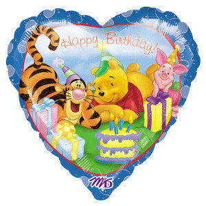 "18"" / 45cm Winnie The Pooh Happy Birthday Foil Balloon"
