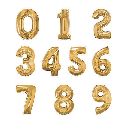 "32"" Supershape Gold Numbers Foil Balloon"