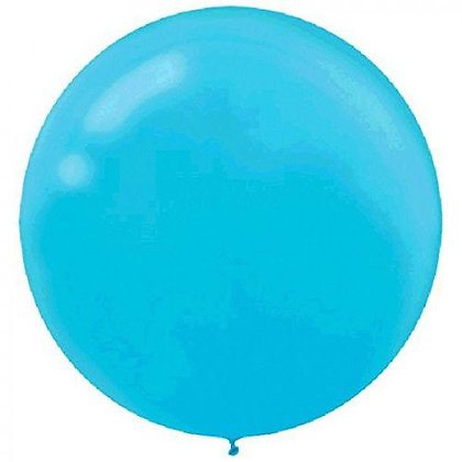 """Pack of 4 - 24"""" Caribbean Blue Round Latex Balloon"""