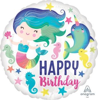 "18"" / 45cm Mermaid Happy Birthday Foil Balloon"