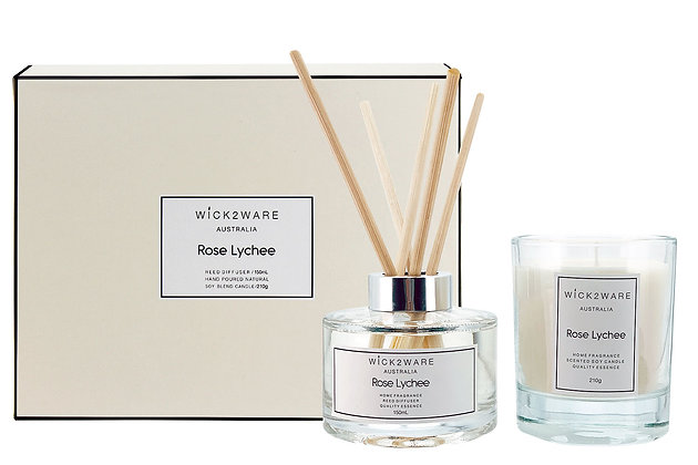Rose Lychee 210g Soy Candle & 150ml Diffuser Gift Set