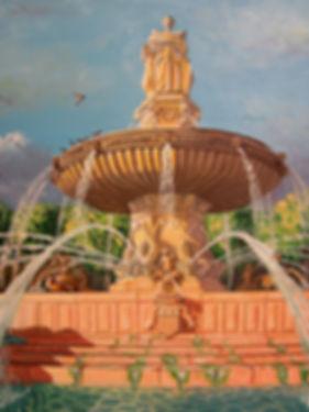 Fontaine de la Rotonde d' Aix-en-Provence, peinture huile sur toile de lin