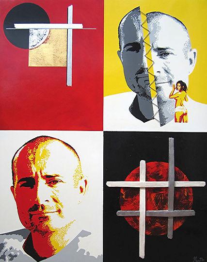 AUTOPORTRAIT la Dualité  Autoportrait de l'artiste Olivier Boutin Peinture mixte sur bois enduit laqué