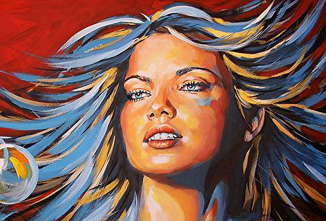Adriana Lima, portrait de femme peinture acrylique