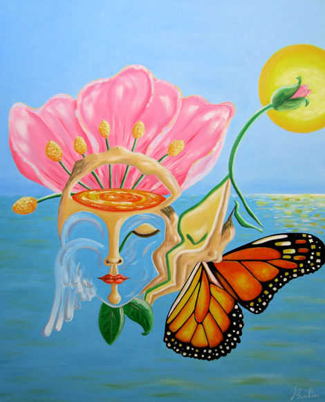 Paradise, the world of light and meaning. Beauty and pleasure of the new world.   PARADISE Oil Painting on canvas 81/65 cm