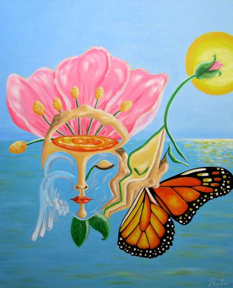 Le Paradis, monde de la lumière et des sens. Beauté et plaisir du nouveau monde.   Le PARADIS Peinture huile sur toile de lin 81/65 cm