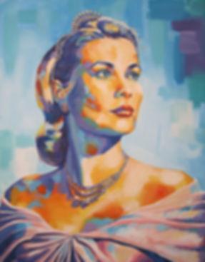 Audrey Hepburn, buste de femme en robe peinture acrylique