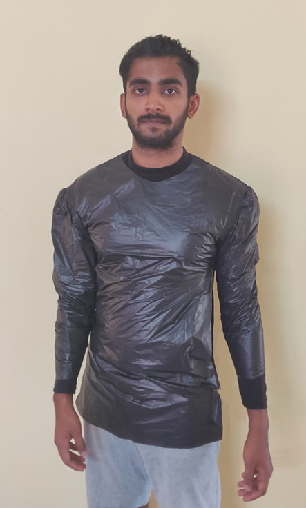 Protective wear for COVID 19 made from garbage bag