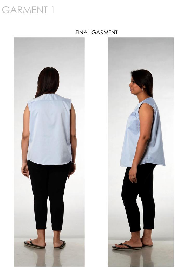 Final garment 1 on model, back & side view
