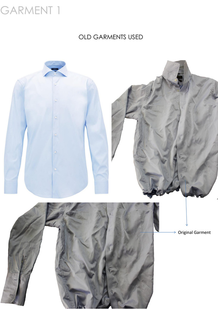 Old shirt used for making the final garment