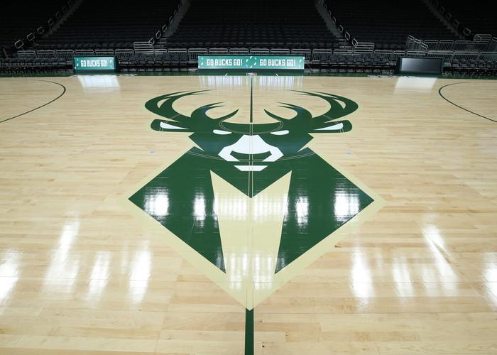 Hardwood floor of Bucks Arena