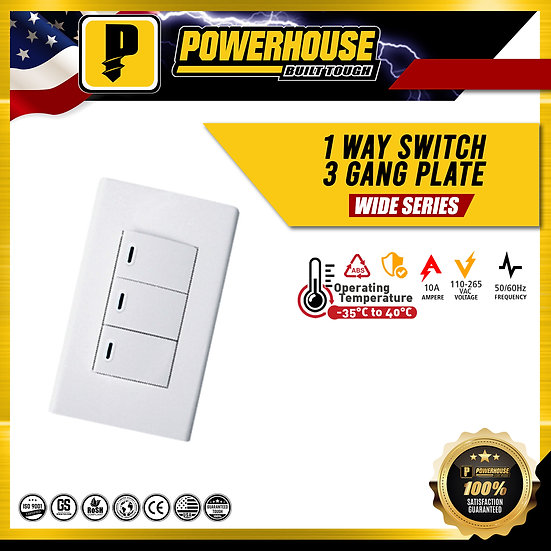 1 Way Switch 3 Gang Plate