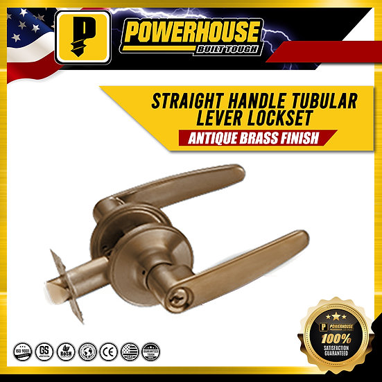 Tubular Lever Lock Set Straight Handle (Antique Brass Finish)
