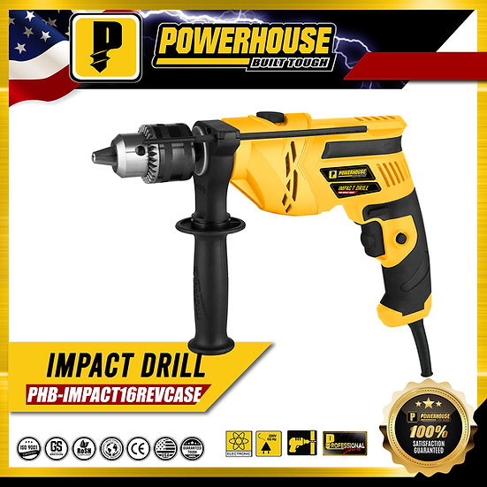 PowerHouse Impact Drill 1000W 16mm w/ Carrying Hard Case (PHB-IMPACT16REV)