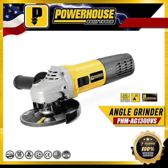 "PowerHouse Angle Grinder Torque Force Motor 1,300W 6"" (PHM-AG1300VS)"