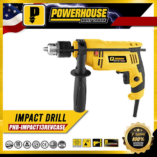PowerHouse Impact Drill w/ Variable Speed 800W 13mm PHB-IMPACT13REVCASE)