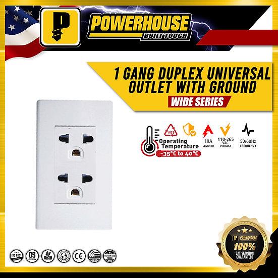 1 Gang Duplex Universal Outlet w/Ground
