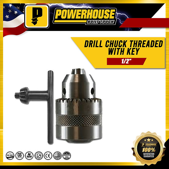 "Drill Chuck Threaded with Key (1/2"")"