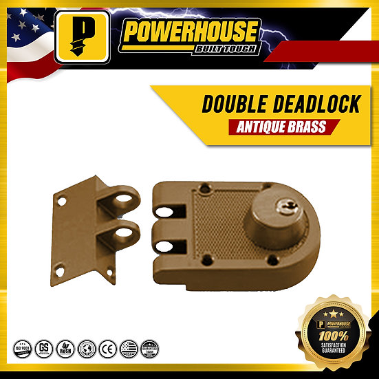 Double Rim Deadlock (Antique Brass)