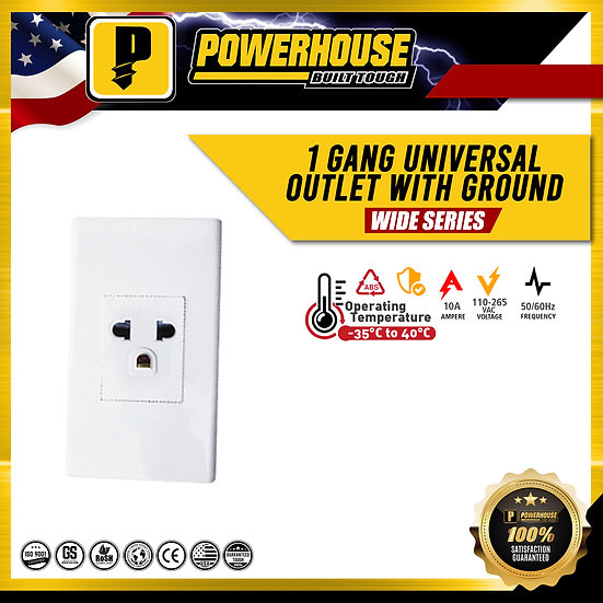 1 Gang Universal Outlet with Ground