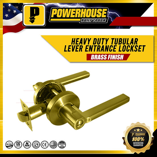Heavy Duty Tubular Lever Entrance Lockset (Brass Finish)