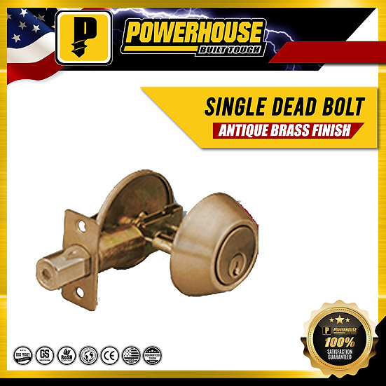 Single Deadbolt (Antique Brass Finish)
