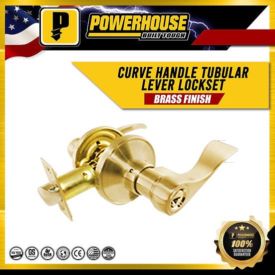 Tubular Lever Lock Set Curve Handle (Brass Finish)