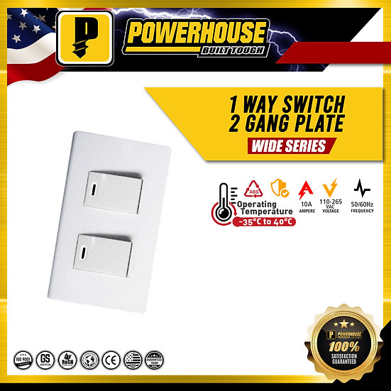 1 Way Switch 2 Gang Plate