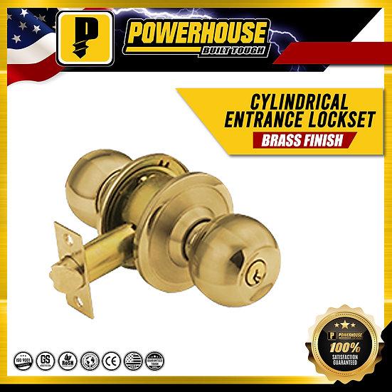 Cylindrical Entrance Lockset (Brass Finish)