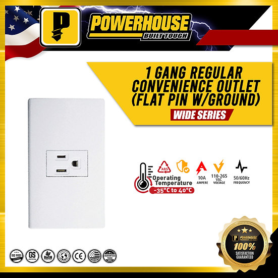 1 Gang Regular Convenience Outlet ( Flat Pin with Ground)