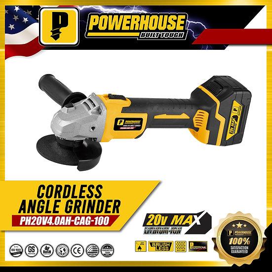 PowerHouse Cordless Angle Grinder Lith Ion 20V Max 4.0 AH  (PH20V4.0AH-CAG-100)