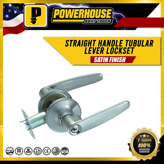Tubular Lever Lock Set Straight Handle (Satin Finish)