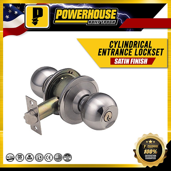 Cylindrical Entrance Lockset (Satin Finish)