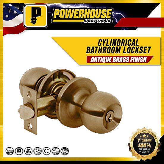 Cylindrical Bathroom Lockset (Antique Brass Finish)