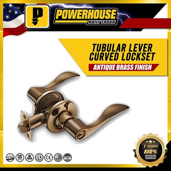 Tubular Lever Lockset Curved Handle (Antique Brass Finish)