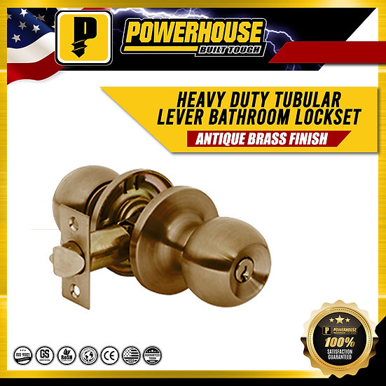 Heavy Duty Tubular Lever Bathroom Lockset (Antique Brass Finish)