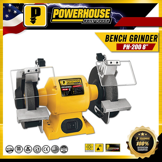 "PowerHouse Bench Grinder 8"" 375W ; 1/2hp Copper Wire (PH-200)"