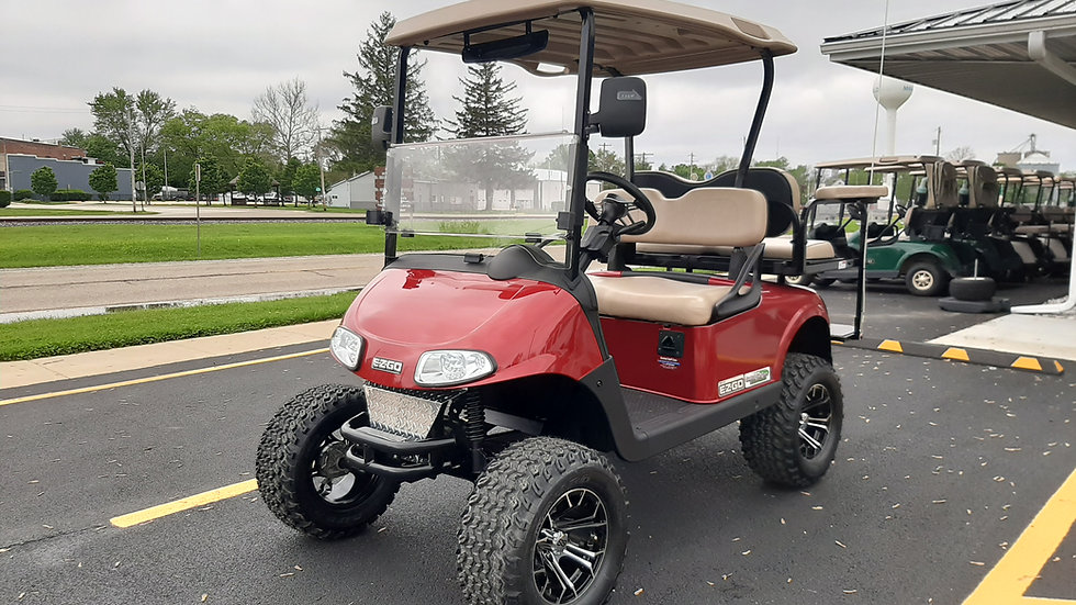 2016 EZ Go RXV 48V Lifted Street Legal Candy Red Metallic