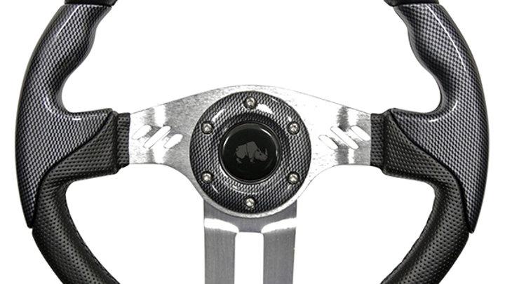 "Steering Wheel, Aviator 5 Carbon Fiber Grip/Brushed Aluminum Spokes, 13"""