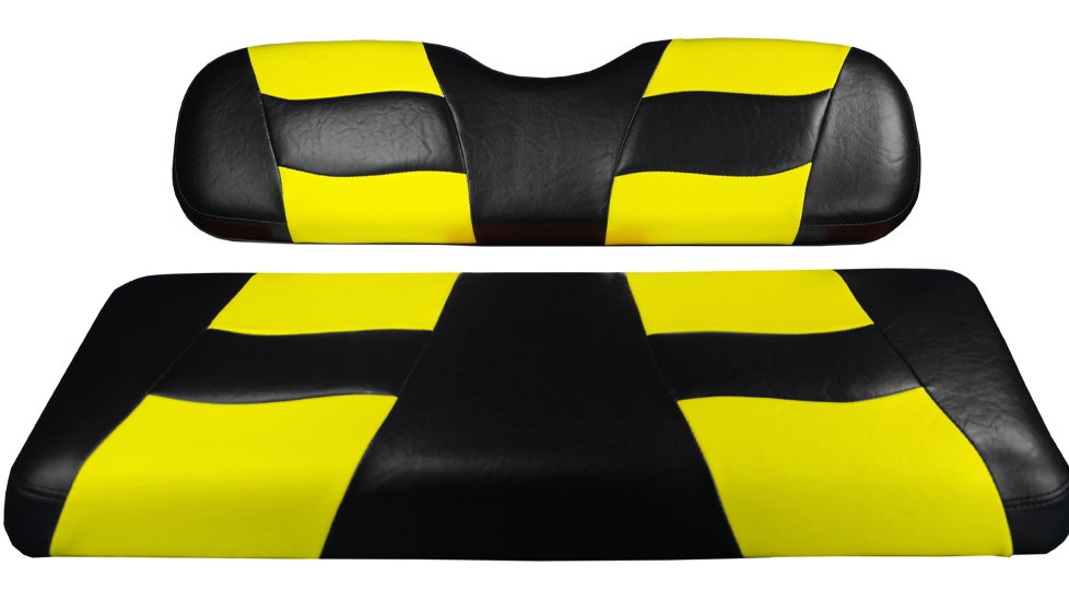 Madjax Riptide Black/Yellow Two-Tone EZGO TXT & RXV Front Seat Covers