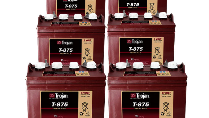 Trojan T-875 8V Golf Cart Battery, Set of 6 (with Cores)