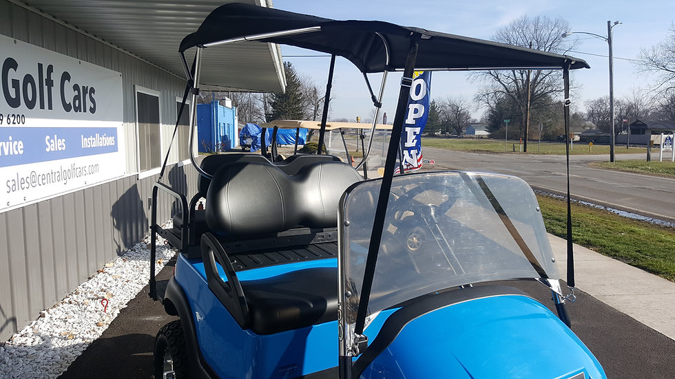 Golf Cart Convertible top with Custom Black Frame Windshield: Custom Color