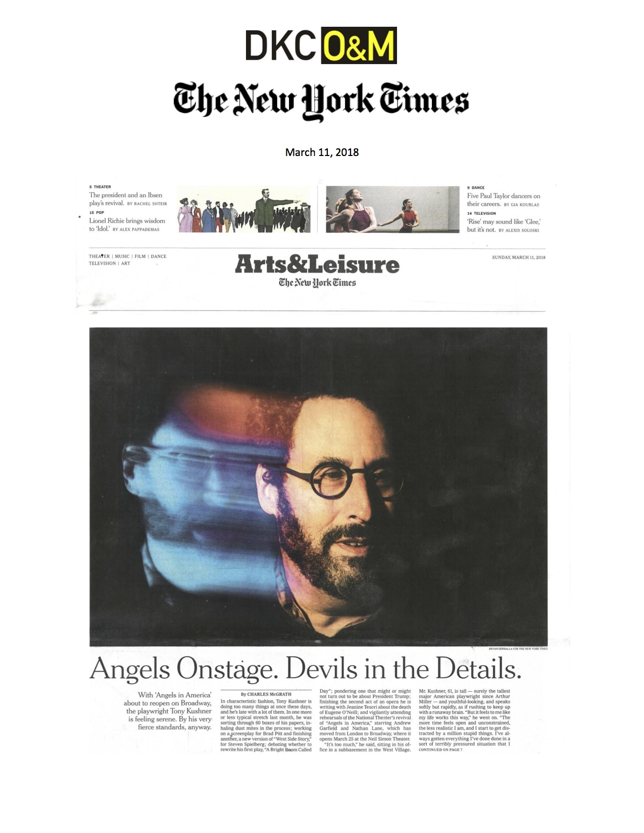 The New York Times Arts & Leisure (08 May 2016)