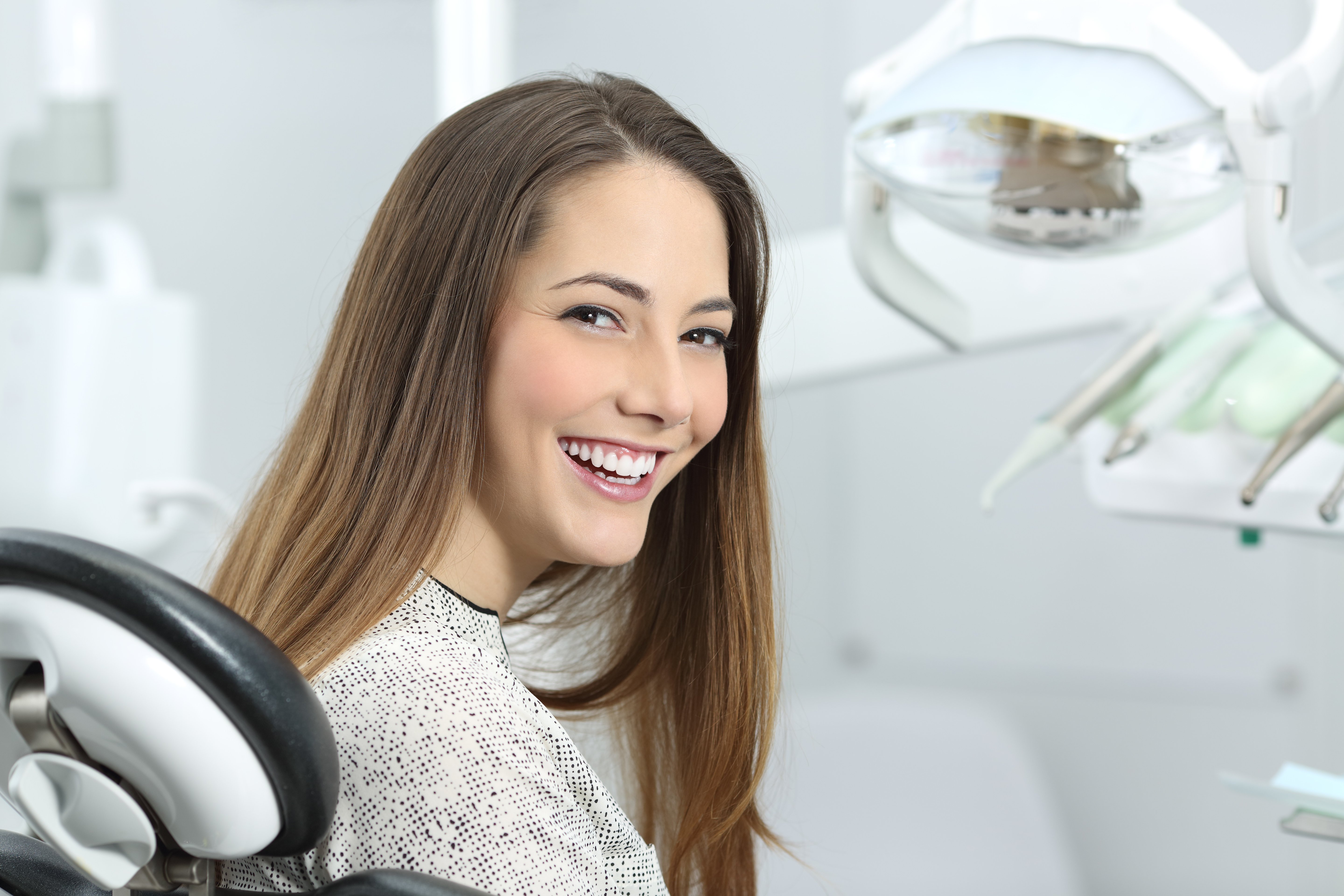 Woman smiling in chair