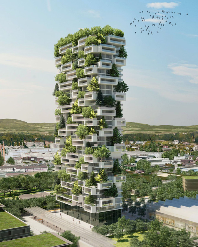 117-Meter-Tall Tower to be World's First Building Covered with Evergreen Trees