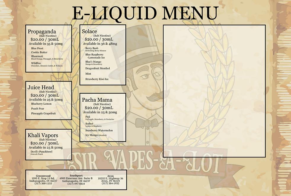Sir Vapes-A-Lot Side B E-Liquid Menu