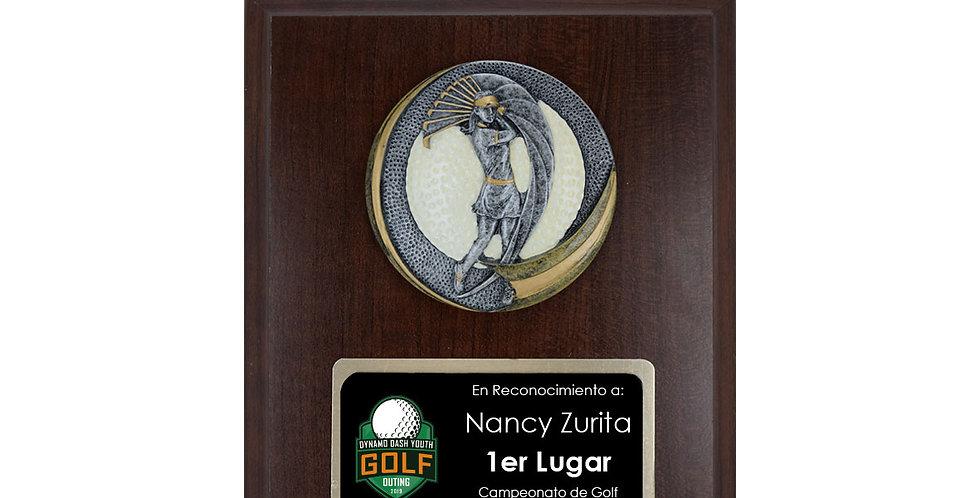 Placa con Aplique Golf Femenino