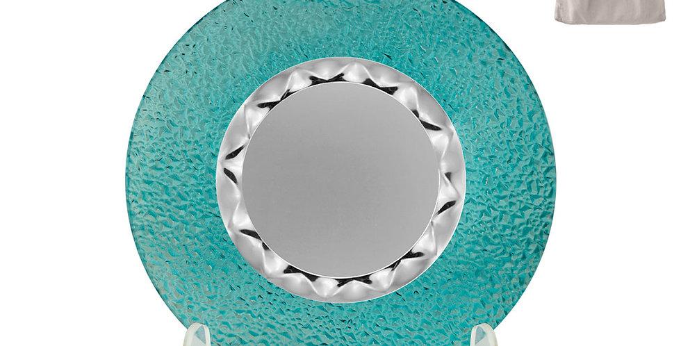 Plato de Cristal Turquesa con Placa