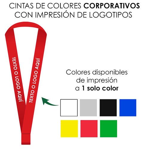 Cinta de cuello de colores corporativos con impresión